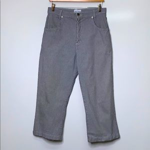 FRENCH DRESSING Black Vintage Crop Pin Check Pants